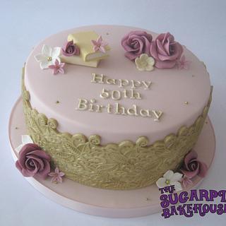 Vintage Inspired 50th Birthday Cake