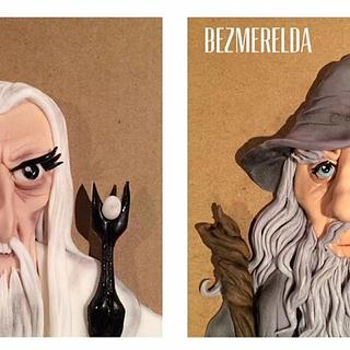 Saruman and Gandalf cake toppers