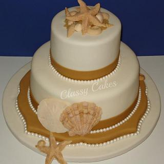 Seashells and Pearls - Cake by Classy Cakes By Diane