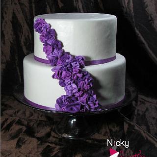 Purple and White Wedding Cake - Cake by NickySignatureCakes