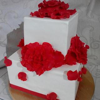 double barrel wedding cake - red roses