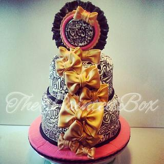 Word Play and Gold Bows - Cake by The Painted Box