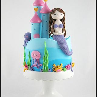 Mermaid castle cake