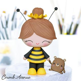 Bee Girl Cake Topper - Cake by Crumb Avenue