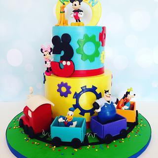 Mickey & Friends Train Cake