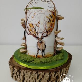 Deer  - Cake by MOLI Cakes