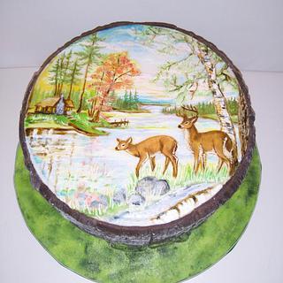 Hand painted deers - Cake by Zuzana Kmecova