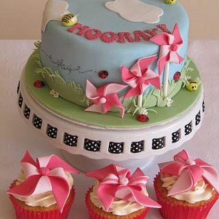 Windmills and blue skys cake