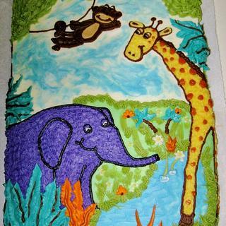 Jungle themed birthday cake (all Buttercream design)