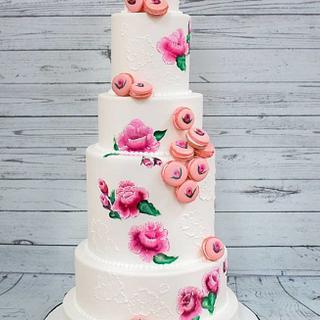 Painted Macaron Cake