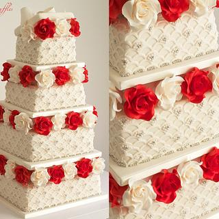 'Boxes of Roses' Wedding Cake