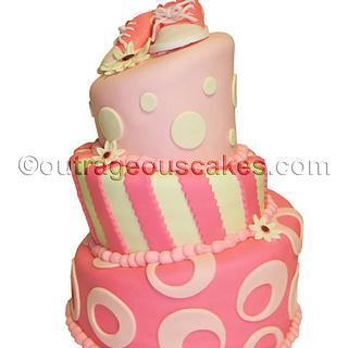 3 tier topsy turvy baby shower cake