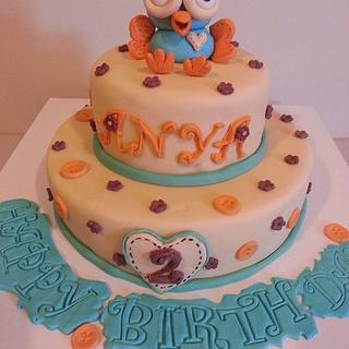Hoot themed cake - Cake by UShi's creative cakes
