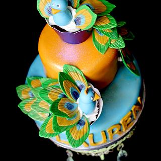 Pretty Peacock Cake and Cupcakes