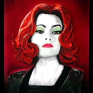 Painted Fondant Portrait of Dr. Julia Hoffman of Tim Burton's, Dark Shadows & tutorial