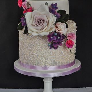 Lilac Shimmer Sequinned Wedding Cake