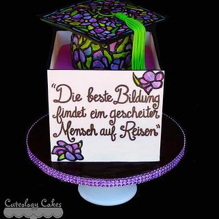 Stained Glass Graduation Cake