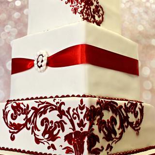 Red Damask Square Wedding Cake
