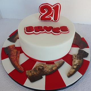 Red and White themed cake