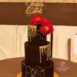 Gold Jewel Wedding Cake