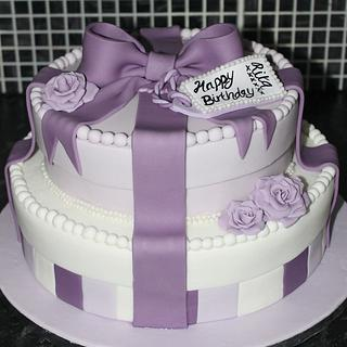 A Purple Stacked Present/ Hat Box  - Cake by Cake Creations By Hannah