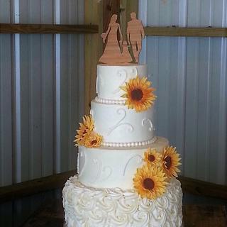 Buttercream Wedding Cake with Gumpaste Sunflowers