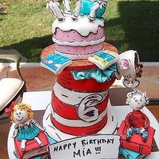 The Cat in the Hat Birthday tower cake
