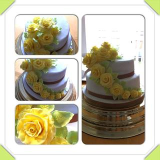 My first 2 tiered cake, made for a 50th Wedding Anniversary.