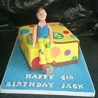 Mr Tumble cake with tie dye sponge