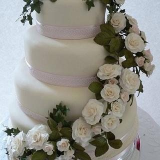 White Rose Swag Wedding Cake