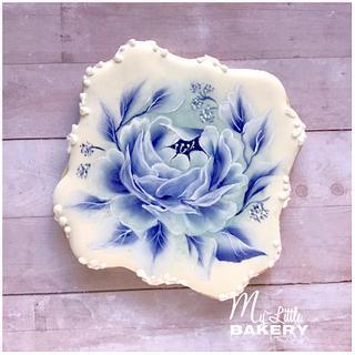 Blue Rose. Floral cookie.