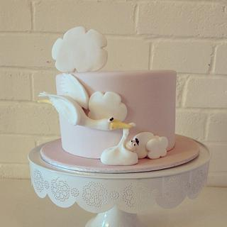 Stork and baby shower cake