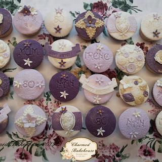 Vintage 80th Birthday Cupcakes - Cake by Charmed Bakehouse