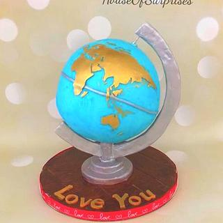 """You R my world"" - A globe cake"