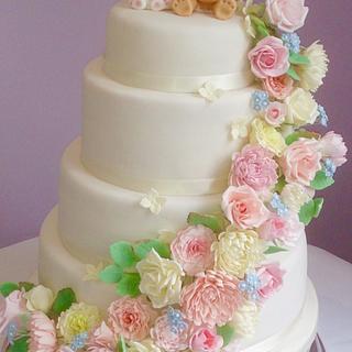 Bunny and Bear Flower Cascade Wedding Cake - Cake by Serendipity Cake Company