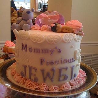 Baby Shower Cake (a disaster)
