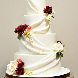 Swags and Roses Wedding Cake