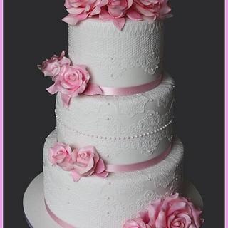 Vintage Lace Wedding Cake  - Cake by Lealu-Sweets
