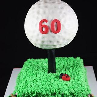 Golf ball on tee - Cake by sweetonyou