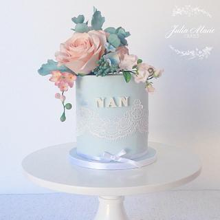 Peach and Blue Floral Cake