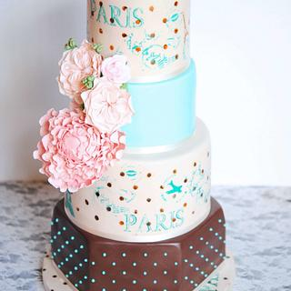 Mon Amour Wedding Cake by Mericakes