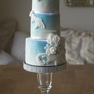 sky blue bas relief - Cake by Fancy Favours & Edible Art (Sawsen)