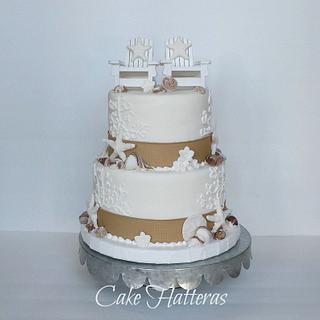 Burlap and Pearl Beach Wedding Cake