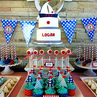 Nautical Baptism dessert table