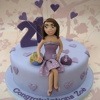 Purple heart 21st Cake - Cake by Deborah Cubbon (the4manxies)