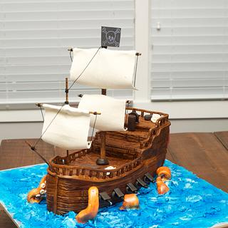 Pirate Ship Cake with Kraken