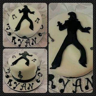 Black and White Elvis Presley Silhouette Cake !!