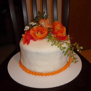 Fondant cake with flowers