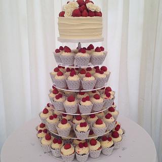 Buttercream and fresh fruit wedding cakes