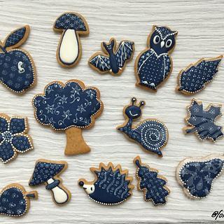 Autumn in blue print